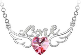 Wholesale Wholesales Jewerly For Sales - JS N117 Angel Wings Heart Necklace For Women Crystal Jewerly Silver And Gold Plated Joias Christmas Gifts Sale Silver Pendant