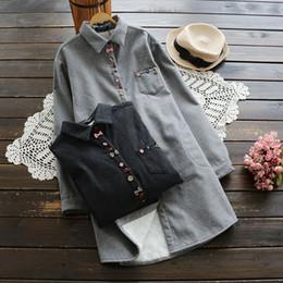 Wholesale women velvet blouse - Autumn Winter Shirts for women Lapel Neck Long sleeve With velvet Women Blouses Gray and Black color