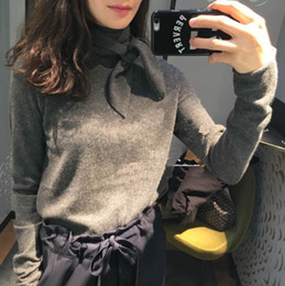 Wholesale Grey Knit Sweater - Wholesale- women grey white sweater runway fashion mink cashmere knitted thick warm pullovers sweater jumper with bow high quality