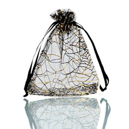 Wholesale Favor Express - 25PCs 9.5cm x11cm Black Gold Web Organza Gift Jewelry Bags Wedding Christmas Favor (Over $110 Free Express)