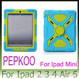 Wholesale Cheap Ipad Covers - Cheap Price PEPKOO Extreme-Duty Military Stand Clip Case Rugged Cover for iPad 4 5 6 Air 2 mini 1 2 3