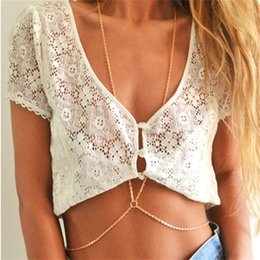 Wholesale Sexy Body Necklace - Sexy Crossover Gold Plated Body Belly Waist Chain Bikini Beach Harness Necklace for Women Summer Jewelry