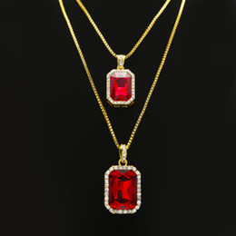 Wholesale Square Tin Boxes - 2pcs Ruby Necklace Set Silver Gold Plated Iced Out Square Red Ruby Bling Rhinestone Pendant Necklace Hip Hop Jewelry Box Chain