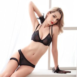 Wholesale Lingerie Bra Models - hot French style new model ultra-thin breathable charming halter bra set sexy lingerie sous vetements femme flower Embroidery