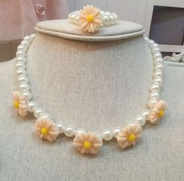 Wholesale Womens Dresses Necklace - Girls pearls necklace children stereo flowers princess dress accessories kids jewelry womens sweater accessories girl gift T4874