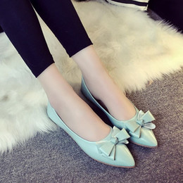 Wholesale Bow Pink Flat Back - Spring new arrival 2016 women's shoes fashion bow flat casual female shallow mouth shoes shallow mouth female free shipping