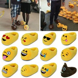 Pelaje gordo online-Cartoon Flock Fat Winter Indoor Emoji Furry Fluffy Rihanna Slides Pantuflas con piel Flip Flops Shoes House Mujer Plush s127