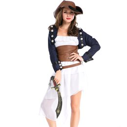 Wholesale Sexy Women Costume Pirate - Sexy Pirate Costume Classic Adult Halloween Carnival Cosplay Party Pirates of the Caribbean Women Fancy Dress Role Play Uniform A158652
