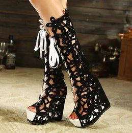 Wholesale Lace Cutout Boots - 2017Superacids bandage boots sexy cutout open toe boots platform wedges cool boots women high heels pump shoes