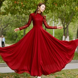 Wholesale Prom Trends - 2018 Spring New Trend Charming Long Lace Sleeves Pleated Chiffon Long Red Maxi Party Dress Prom Dress