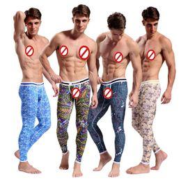 Wholesale Bohemia Long - Hot Men's Cotton Pajama Long Johns Bohemia Bottoms Long Thermal Underwear Long Johns Bodysuit Keep Warm Zentai Leggings for Men 7123