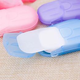 cajas de viaje de jabón de plástico Rebajas 20 unids / set portátil lavado de manos papel escamas de jabón artículos de tocador de viaje caja de plástico conveniente conveniente regalo de la escama del jabón
