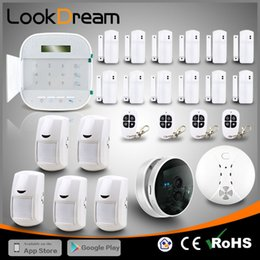 Wholesale Gsm Camera Alarm Systems - APP WIFI+GSM Dual network Wireless Home Security Burglar Alarm System IP Camera Auto dialer Touch Keypad Latest