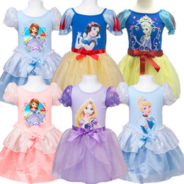 Wholesale Dress Lantern Cotton Girl - bubble short sleeve cotton gauze princess rapunzel snow white Sofia Cinderella dress girl girls princess cosplay dress