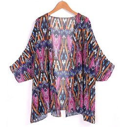 wholesale kimonos Promo Codes - Wholesale-2016 Summer Fashion Tunic Women Beach Dress Sexy Ladies Print Swimwear Kimono Cardigan Beach Shirt Bikini Cover Up Beachwear M3