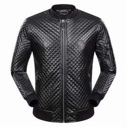 Wholesale Men Clothing Leather Sleeves - New Men Argyle Leather Coats Slim Casual Cardigan Jacket Motorcycle Outerwear Long Sleeve Coat Men's Clothing