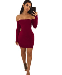 Wholesale Sexy Mini Skirt Tube - Night club backless dress Sexy Boob tube top package hip skirt European and American long sleeve dress