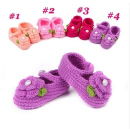 Wholesale hot pink infant shoes - Hot sell Infant Handmade Crochet wool shoes Baby Crochet Shoes Baby Knitted Footwear Toddler shoes 0-12Mos First walkers shoes B563