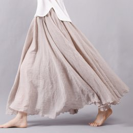 Wholesale Maxi Elastic Waist Chiffon Skirt - Fashion Brand Women Linen Cotton Long Skirts Elastic Waist Pleated Maxi Skirts Beach Boho Vintage Summer Skirts Faldas Saia