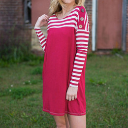 Wholesale Red Stripe Dress Rose - Women Fashion Loose Long Sleeve Good Selling Chic Stripe Splicing O Neck Casual Mini Sundress Dresses Rose Red S M L XL