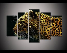 Wholesale Christmas Printing Pictures - New 2017 Christmas present Modern 5 panels art leopard animal Painting on Canvas home decor wall art Print picture free shipping