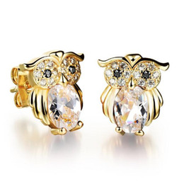 Wholesale Small Owl Stud Earrings - G3 JEWELRY Popular vintage owl stud earrings wholesale Plated 18K gold delicate small inlaid black red white CZ diamond earrings for women