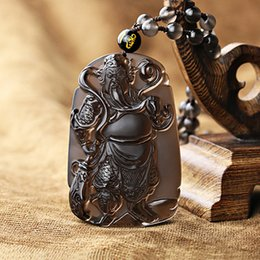Wholesale Natural Species - Natural Hand Carved ice species obsidian guan gong pendant transhipped lucky pendant