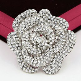 Wholesale Large Clear Rhinestone Brooch Pin - 2.4 Inch Huge Rose Brooch Sparkling Clear Crystals Large Round Rose Brooch Wedding Women Brooch Pins Hot Selling