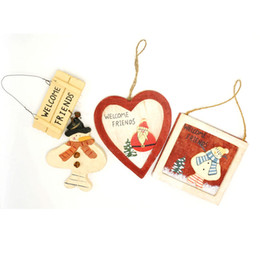 Wholesale Friend Track - cheap christmas ornament wood Santa Claus snowman tree hanging wall door art welcome friends <$18 no tracking