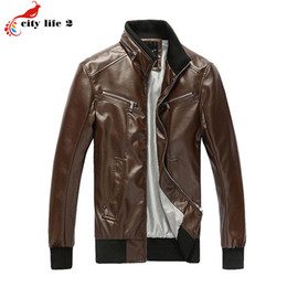 Wholesale Matches Leather Jackets - Fall-Men's Fashion High-End Washable PU All-Match Leather Zipper Coat 2016 New Autumn Outdoor Jacket Stand Collar Male Brown 4 Colors