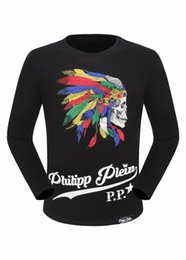 Wholesale Warm Slim Shirt Long Sleeves - Autumn Fashion Long Sleeve Mens Warm Shirts Colorfull Feathers & Skulls 3D Printed Polo t shirts brand famous Slim Male Sweater 18116
