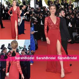 vestidos griegos rojos Rebajas Angela Lindvall Cannes 2019 Celebrity Vestidos de alfombra roja Partida hasta el muslo Split Red Chiffon Sheath Diosa griega Con cuentas Prom Vestidos de noche baratos