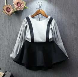 Wholesale Chinese Baby Girl Costume - 2016 christmas dresses for girls kids clothing children cotton dress Patchwork baby clothes halloween costumes kids black party dresses 1977