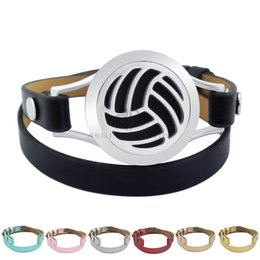 Wholesale volleyball bracelets - Magnet Steel Volleyball 25mm Black Genuine Leather Aroma Locket Stainless Steel Bangle Essential Oils Diffuser Locket Leather Bracelet