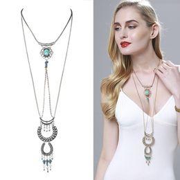 Wholesale Vintage Antique Silver Long Chains - Bohemian Vintage Necklace Antique Turquoise Jewelry Beads Long Tassel Necklace &Pendants For Women Lots 10 Pcs