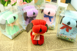 Wholesale Box Puppy - New 20x20cm Small Cute Random Color Cartoon Puppy Dog Towel Novelty Creative Gift With Box MIX COLORS free shipping HY876
