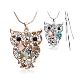 Wholesale Long Crystal Necklace Swarovski - 18K Gold Silver Plated Austrian Crystal Owl Necklace for Women Sweater Long Chain Made With Swarovski Elements Nice Gift Wedding Jewelry