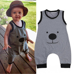 Wholesale Christmas Bear Cheap - Toddler infant baby rompers new arrival kids bear style jumpsuits children fashion gray sleeveless casual top bodysuits factory cheap price