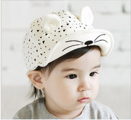 Wholesale Baby Baseball Hat Beret - 2016 Kid Baby Toddler Infant Children's Caps Baseball cute cat Beret Hats Cotton Soft Hot Sales
