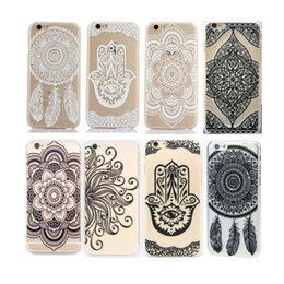 Wholesale Translucent Plastic Iphone Case - Phone 6 Back Cover Vintage Damask Mandala Datura Cameo Henna Wind Chime Flower Hard Plastic Matte Translucent Case Cover For Phone 6 6s 01