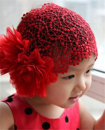 Wholesale Cute Baby Girl Korean - Baby Girls headbands Big Flowes handmade Cute lovely Korean Hair Bands Kids Infant Hair Accessories wedding Lace Mesh Headbands KHA09