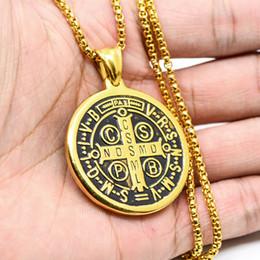 Wholesale Saint Stainless - 316L Stainless Steel Saint Jesus Benedict Nursia Patron Medal Crucifix Cross Antique Silver Religious Pendant Necklaces