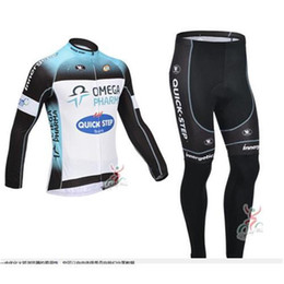 Wholesale Full Steps - Newest Quick - Step white Black Winter Cycling clothing Winter Fleece Long Cycling Jersey and (Bib) trousers Cycling Sets