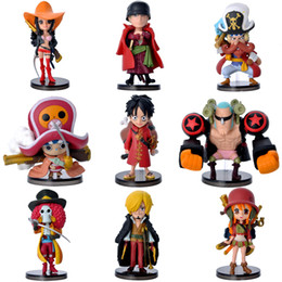 Wholesale Set Animation - 2017 One Piece Action Figures Q version Zoro Luffy Anime Animation PVC Figures Collection display Toys Model Toys 9pcs set
