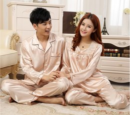 Wholesale Womens Onesies - Wholesale-2016 Summer Mens And Womens Couples Luxury Silk Pajama Sets Sleepwear Suits Thin And Soft Home Wear 2 Colours Designs Large Size