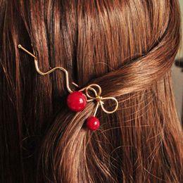 Wholesale Cherry Ornament - Wholesale-Sweet Women Girls Korea Korean Red Cherry Shaped Bow Bangs Hairpin Twist Hair Clip Headdress Hair Accessories Head Ornaments