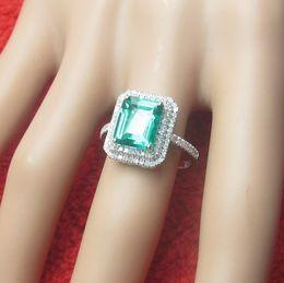 Wholesale Diamond Solid Wedding Ring - Solid 14k white gold 8X10mm Treated emerald Diamonds Engagement Wedding Ring