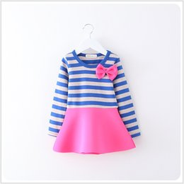 Wholesale Zebra Winter Coat - Princess dress baby clothes 016 girls Sweet cute bow long-sleeved doll collar princess dresses bow dresses Baby Sets Girl Suit Kids