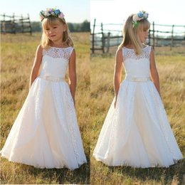 Wholesale Cute Round Collar Dress - Elegant princess flower dress 2016 first sacrament of lace dress cute little round collar lace tulle girls birthday party flower girl dress