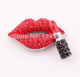 Wholesale Connectors For Shamballa Bracelets - NEW Crystal Sexy Red Lip Connector Rhinestone Lipstick Link Charm For DIY Shamballa Bracelet Making SRAL ZBE43